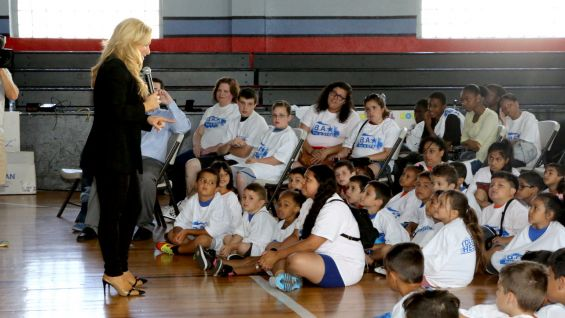 The WWE Diva explained to the kids how important it is to show tolerance and respect for each other.