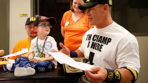 Cena also meets Joshua, who is 8 years old.
