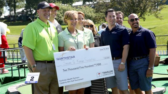 Military Honorary Co-Chairs of the Travelers Championship Linda Botek, Kelley McDowell and Mark Lear won round one of the mini golf tournament and chose Susan G. Komen Foundation as recipients of the winning donation.