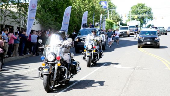 """Law enforcement officials help clear the way for the """"Flame of Hope"""" across the Nutmeg State!"""