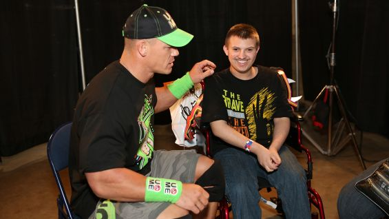 John Cena meets Daunton, 15, before Raw in Birmingham, Ala.