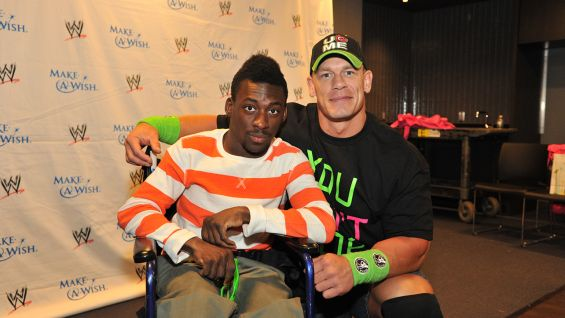 Isaiah, 17, meets Cena before Raw in Brooklyn, N.Y.