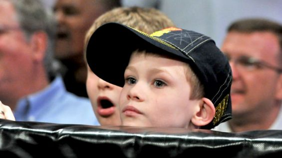Jacob watches the action from his ringside seat.