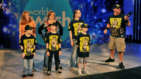 John Cena welcomes three Make-A-Wish kids onstage at Raw during World Wish Day.