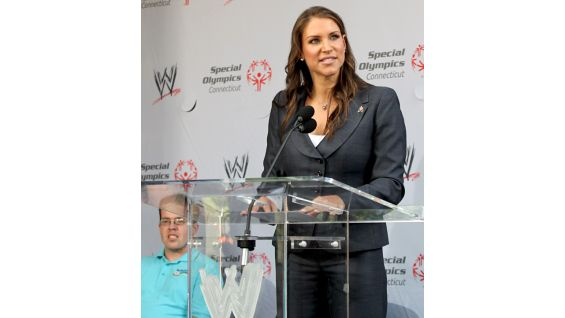 WWE Chief Brand Officer and Honorary Chairperson for Special Olympics Team Connecticut Stephanie McMahon welcomes everyone to the rally.