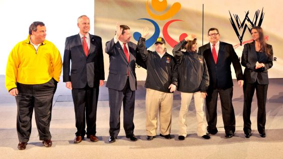 ... President of Special Olympics New Jersey Marc Edenzon, WWE Executive Vice President of Creative Stephanie McMahon and Special Olympics athletes Ashley Weber of New Jersey and David Dennin of Connecticut.
