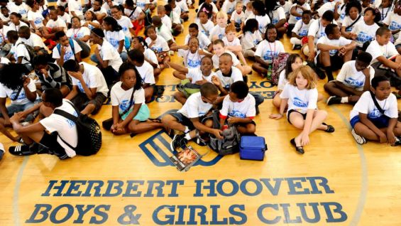 Hundreds of children packed into the Herbert Hoover Boys & Girls Club to hear the Superstars speak out against bullying.
