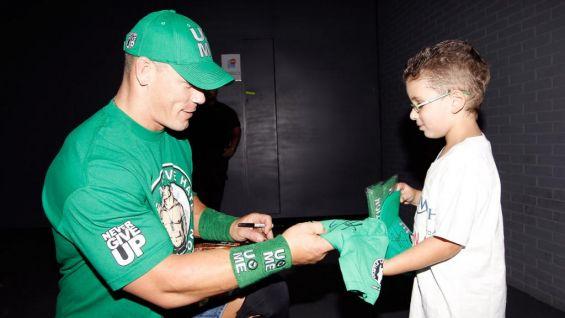 John Cena meets Make-A-Wish's Dotan Zablud in Madrid, Spain.