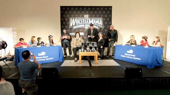 Rey Mysterio, Mick Foley, Hornswoggle and Dolph Ziggler preside over the WrestleMania Reading Challenge World Finals.