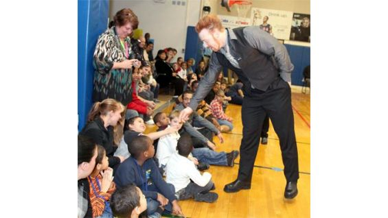 The Celtic Warrior kicks off a be a STAR rally at Mill Road School in Connecticut.