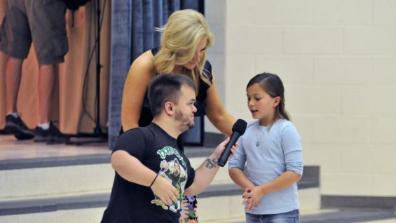 Hornswoggle asks the students about their experiences with bullying.