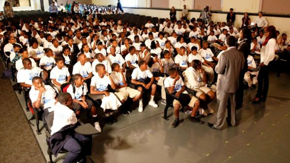 Kofi Kingston, R-Truth and Alicia Fox talk to the children about WWE and The Creative Coalition's be a STAR Alliance.