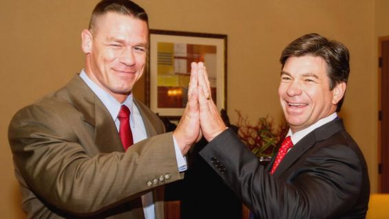 John Cena jokes around with Chairman of Make-A-Wish's National Board Tom McAlpin.
