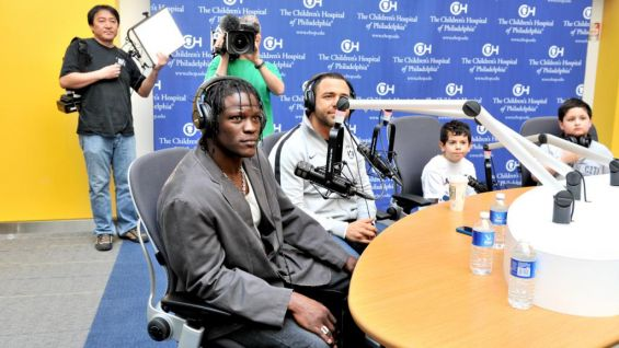 The WWE Superstars were on hand to be interviewed by children at the hospital.