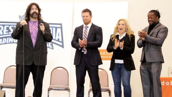 WWE hosts a reading rally at Saint Maria Goretti School in Westfield, Ind.