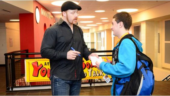 Sheamus greets students and signs autographs before the be a STAR rally.