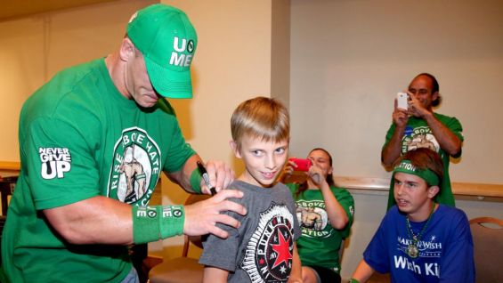 Members of James' family get plenty of autographs from Cena.