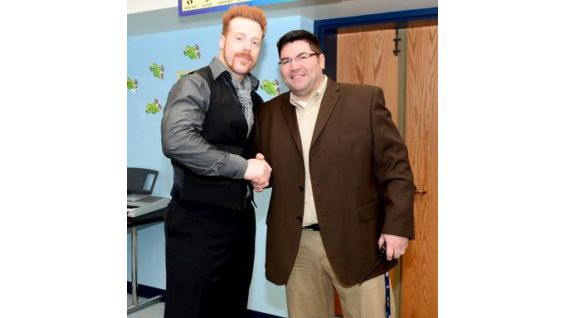 The Celtic Warrior meets the staff at Mill Road School.