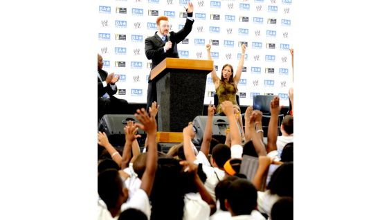 """""""It's easier to be nice to somebody than to be negative,"""" Sheamus said, encouraging the kids to be respectful to each other."""