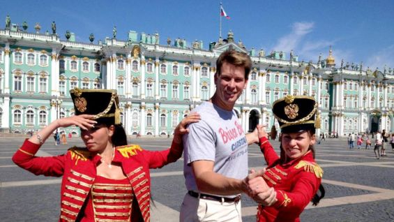"""""""Had time for a little waltz outside Hermitage in St. Petersburg. With Brisco Bros shirt representing!""""  from @JCLayfield on Twitter."""