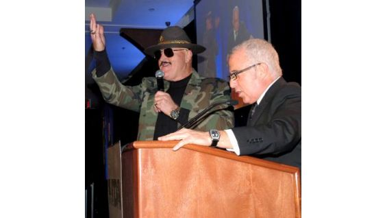 Slaughter emceed the live aucton with Russ Salzberg, sports presenter of WWOR-TV's My9 News and WNYW-TV's FOX 5 News.