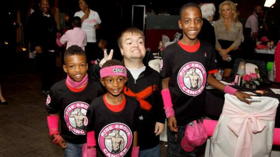 Hornswoggle says hello to some of the youngsters at the event.