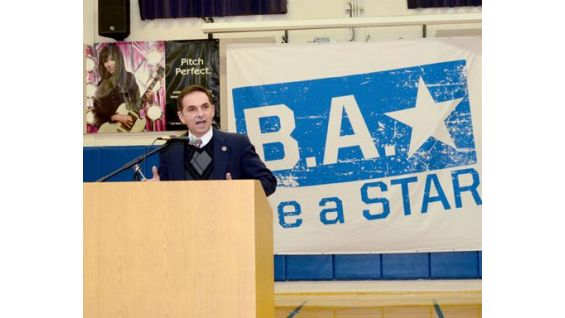 Rep. David Yaccarino of 87th General Assembly District representing North Haven speaks to the students at the be a STAR rally.