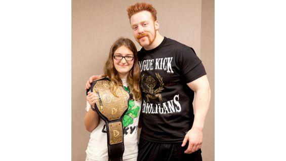 World Heavyweight Champion Sheamus meets Katherine before Raw in Memphis, Tenn.