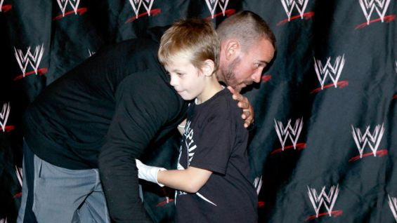 Hunter shares a special moment with the WWE Champion.