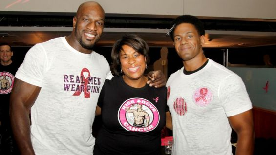 Dorothy Jones, vice president of marketing for Susan G. Komen, poses with The Prime Time Players.