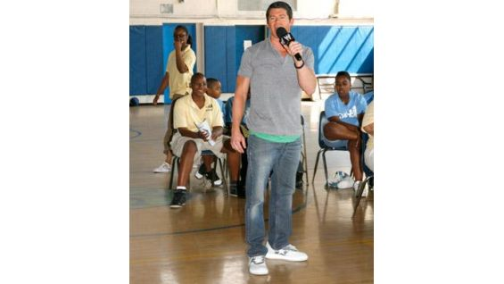SummerSlam Reading Jam spokesman Evan Bourne talked to the students.