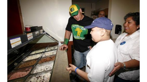 John Cena meets Wish kid Derek Aguas, 12, of Salinas, Calif.