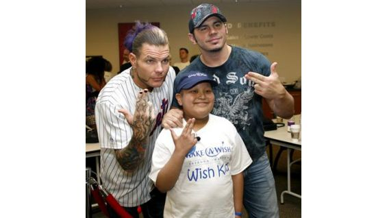 Jeff and Matt Hardy meet Wish kid Derek.