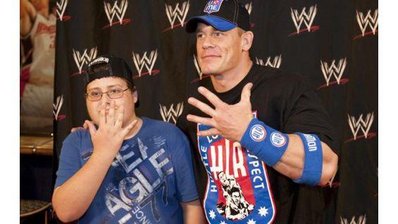 Devon Pilgrim, 13, Central, S.C., with Cena in June 2009.