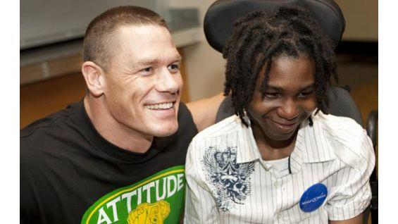 Delon Dicks, 18, of Washington D.C., meets Cena in San Jose, Calif.