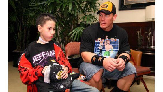 John Cena meets Andrew Sebastian, 14, of Moreno Valley, Calif., in 2008.