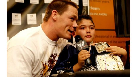 John Cena with Make-A-Wish honoree, Max La Caria, 9.