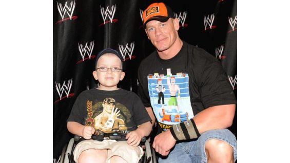 Joshua DeLange, 6, of Stockton, Calif., meets his favorite WWE Superstar.