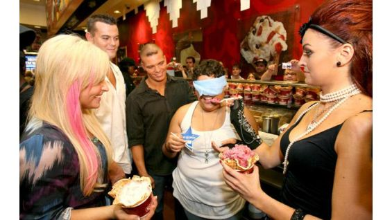 Priscilla taste tests each Diva's sundae.