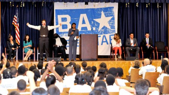 WWE Superstars Sheamus, Mark Henry, Eve and Alberto Del Rio lead an anti-bullying rally at the South Bronx Academy.