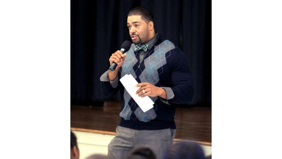Otunga talks to the students about how to stop cyberbullying.