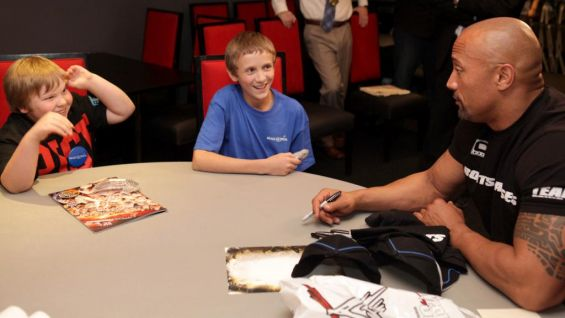 """""""When you meet a fan like Thomas, and his brother ... not only does it make it worthwhile, but it reminds me just how incredibly blessed we all are,"""" The Rock says."""