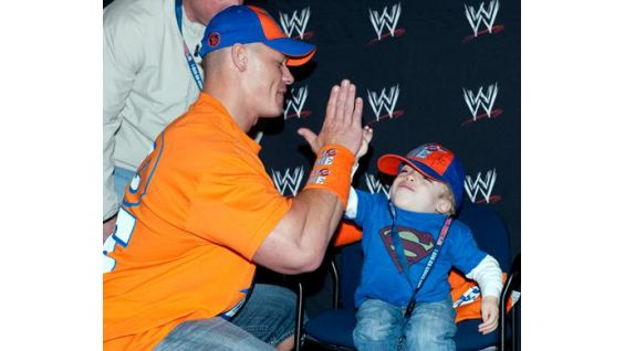 Cena gives Stephen a high-five!