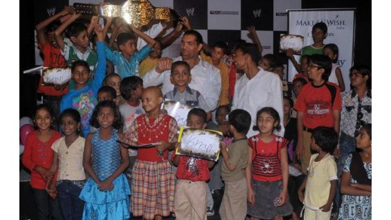 Khali met 30 children from India through Make-A-Wish Foundation.