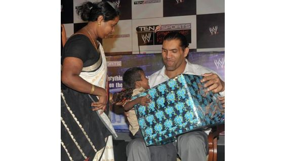 The Great Khali recently met Make-A-Wish kids while in his native India.