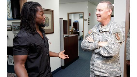Kingston meets Major General Jay W. Hood, Chief of Staff of CENTCOM.