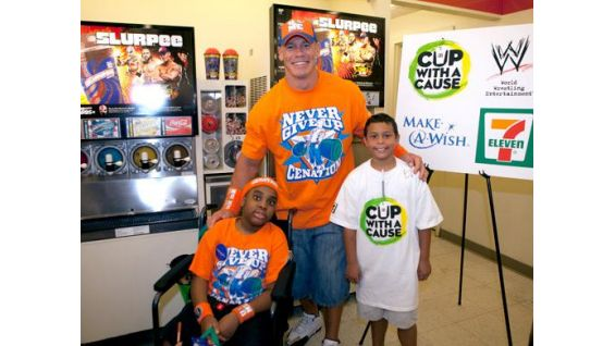 Omari and Caleb are all smiles when meeting their favorite WWE Superstar.
