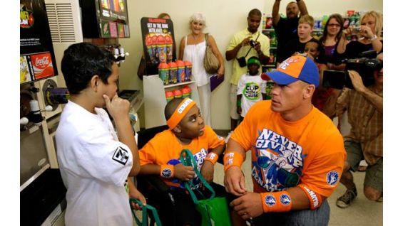 The boys ask Cena what it's like to be a WWE Superstar.