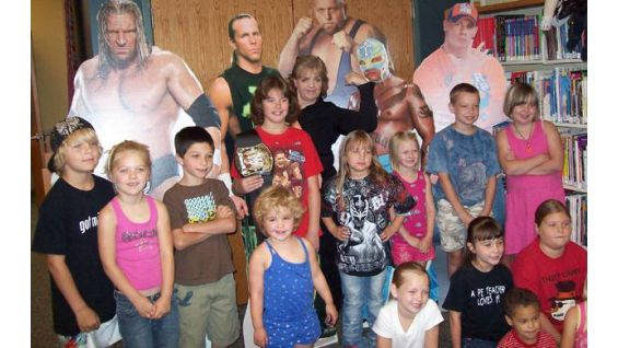 Mansfield and Challenge participants pose in the Crawford County Library.