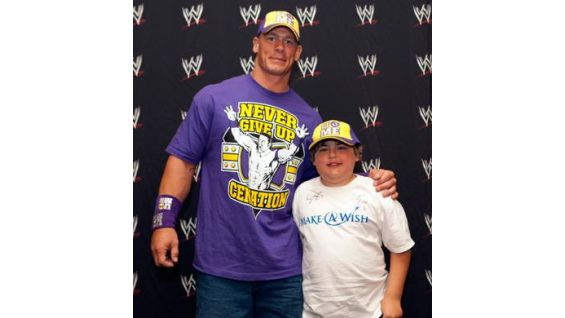 Austin is 13 years old and traveled from Texas to meet Cena in Boston.